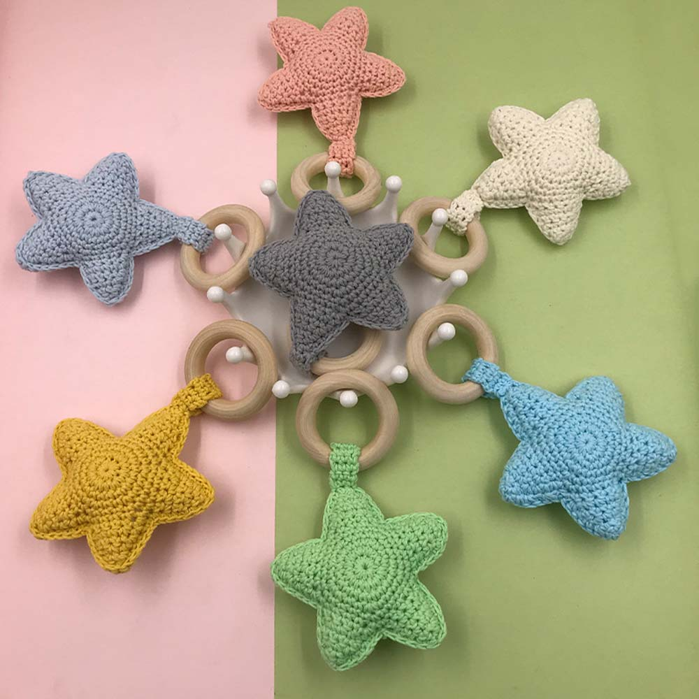 Baby Teethers Ring Chewing Teether Crochet Knitted Safety Wooden Natural Star Sensory Toys Gifts Teething Toy