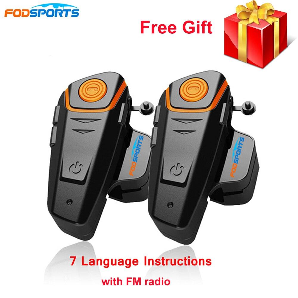 Fodsports BT-S2 Pro motocykl bezprzewodowy domofon Bluetooth słuchawki i zestawy słuchawkowe 1000m motocykl BT Interphone z radiem FM wodoodporna IPX6