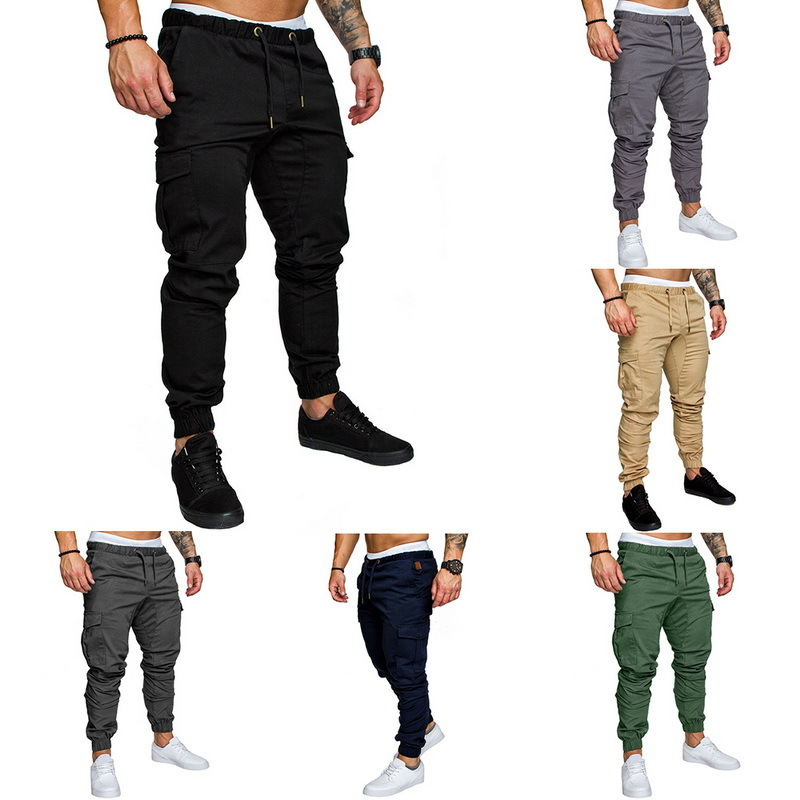ACTIVE-DRY 2020 Men Casual Cargo Pants Plus Size Sport Joggers Trousers Black Fitness Gym Clothing Pockets Leisure Sweatpants