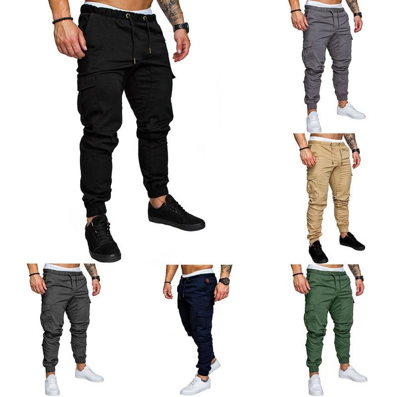 ACTIVE-DRY 2020 Men Casual Cargo Pants Plus Size Sport Joggers Trousers Black Fitness Gym Clothing Pockets Leisure Sweatpants