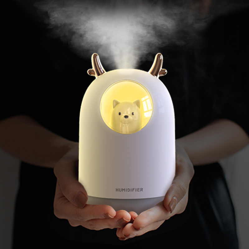 USB Mini Humidifier Cool Mist Cute Portable Air Humidifier With Night Light Air Diffuser For Bedroom Baby Room Home Office Car