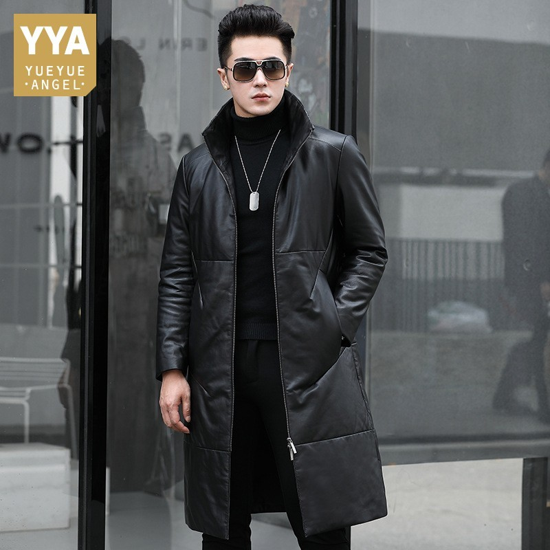 Top Brand Winter Mens Genuine Leather Down Coats Fashion Casual Medium Length Cowhide Stand Collar Male Warm Coats Plus Size