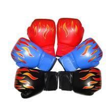 Gants de boxe pour enfants, maille flamme professionnelle, en cuir PU respirant, pour entraînement Sanda