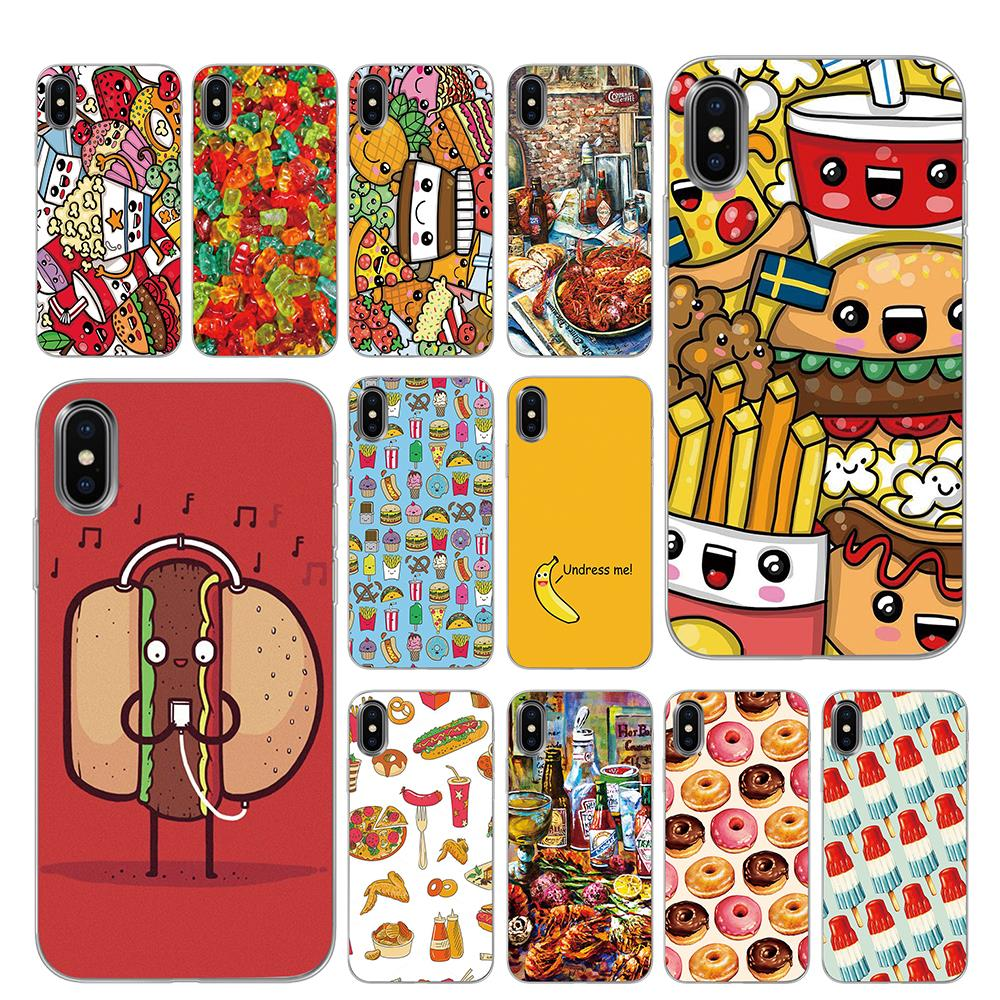Cute <font><b>Kawaii</b></font> donut pizza Food Silicone <font><b>Phone</b></font> <font><b>Cases</b></font> for <font><b>iPhone</b></font> 5 5S SE 6 6s <font><b>7</b></font> 8 Plus X XS Max XR Back Cover image