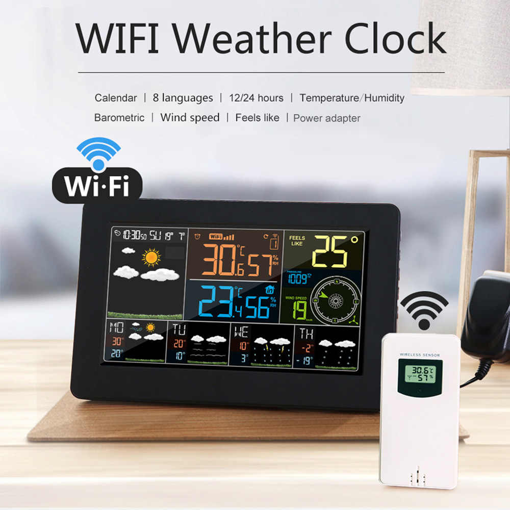 Multifunktionale APP Steuerung Smart Digitale Indoor Outdoor Thermometer Hygrometer Farbe WiFi Wetter Station Monitor