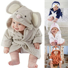 Lovely Baby Girls Cartoon Hooded Bathrobe Child Toddler Bathing Towel Robe Cute Winter Baby Clothing Sleepwear