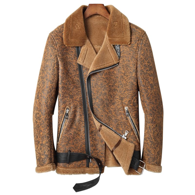 New 2019 Real Shearling Fur Coat Thick Warm Men's Leather Coat Winter Outwear Fashion Genuine Leather Jackets Leopard Print 5XL
