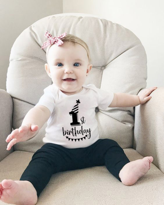 My First Birthday Letter Print Newborn Cotton Baby Short Sleeve Baby Rompers Girls Boys Clothes Baby Boy Clothing 0-24M