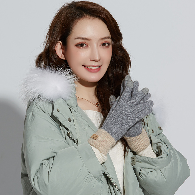 Hot Women cute play mobile phone warm gloves soft cotton winter gloves knit touch screen gloves warm plus fluff touch screen new