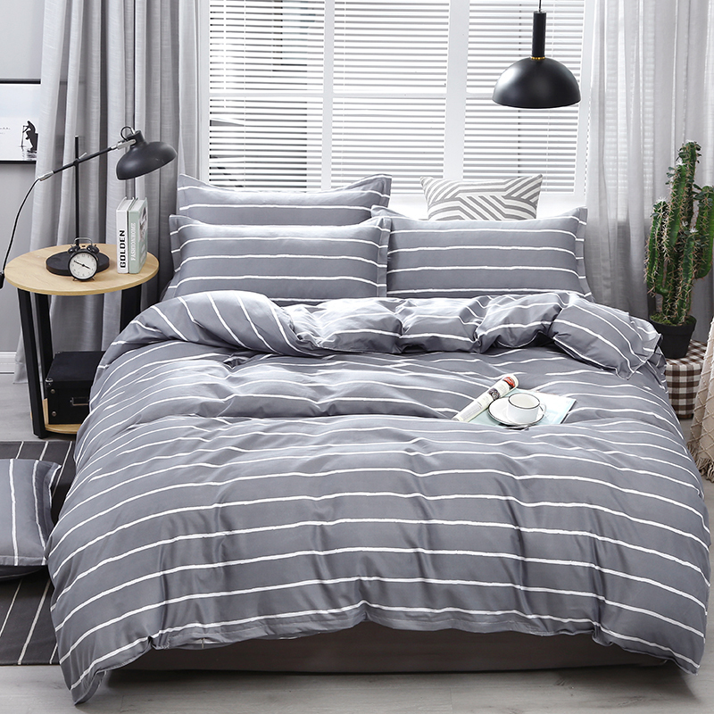 Grey Striped Sheets Set | Grey Striped Flat Sheets