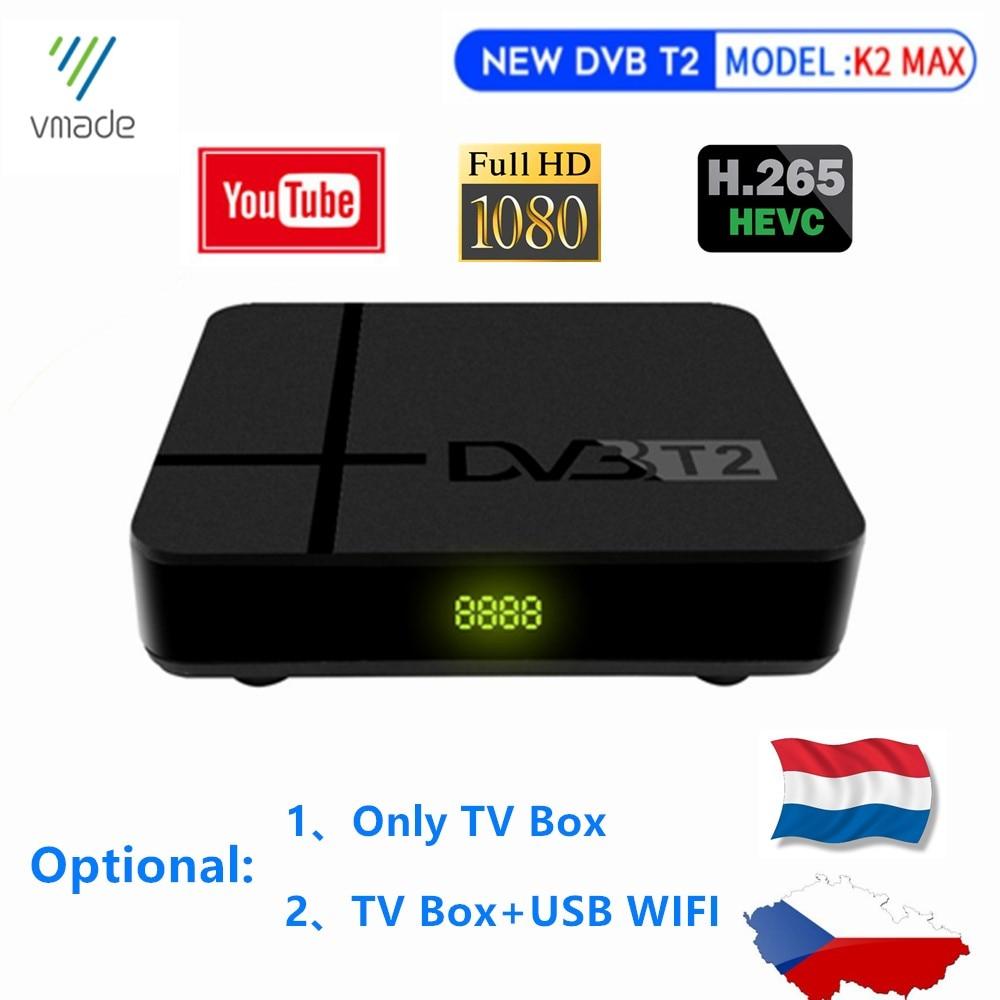 Fully HD 1080p DVB T2 Decoder Digital Terrestrial TV BOX Built-in RJ45 LAN Support YouTube H.265 Hot Sale Europe Czech Republic