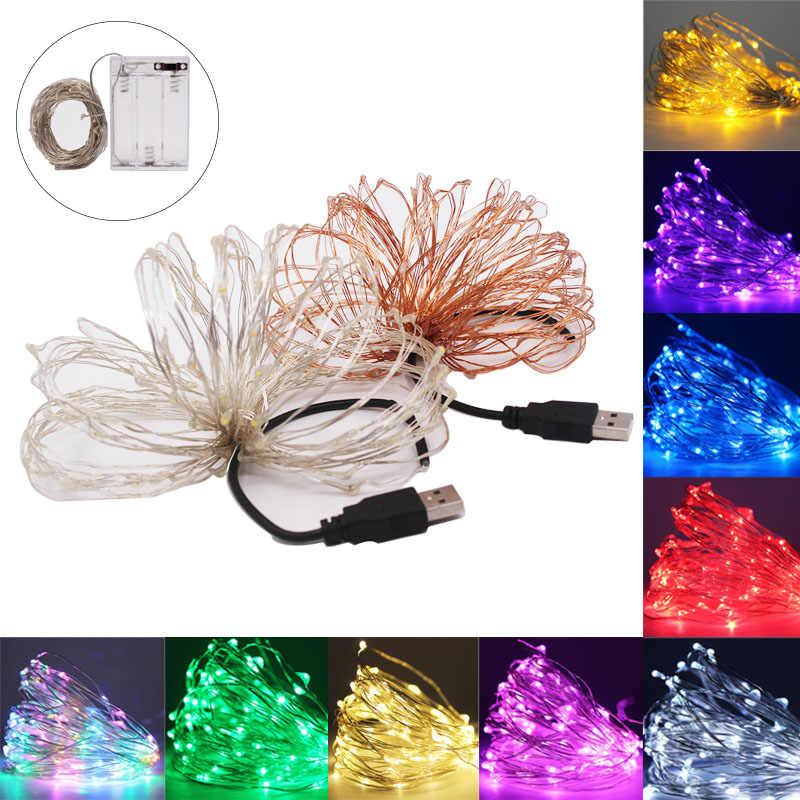 10 м 5 м 2 м светодиодный гирлянда серебряная проволока Сказочный свет Рождественская Свадебная вечеринка USB светодиодный ленточный светильник украшение питание от аккумулятора