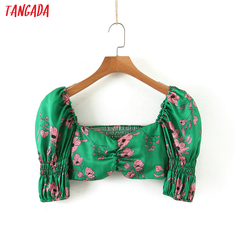 Tangada Women Retro Slim Floral Print Green Blouse Short Sleeve Chic Female Sexy Shirt Blusas Femininas SL85