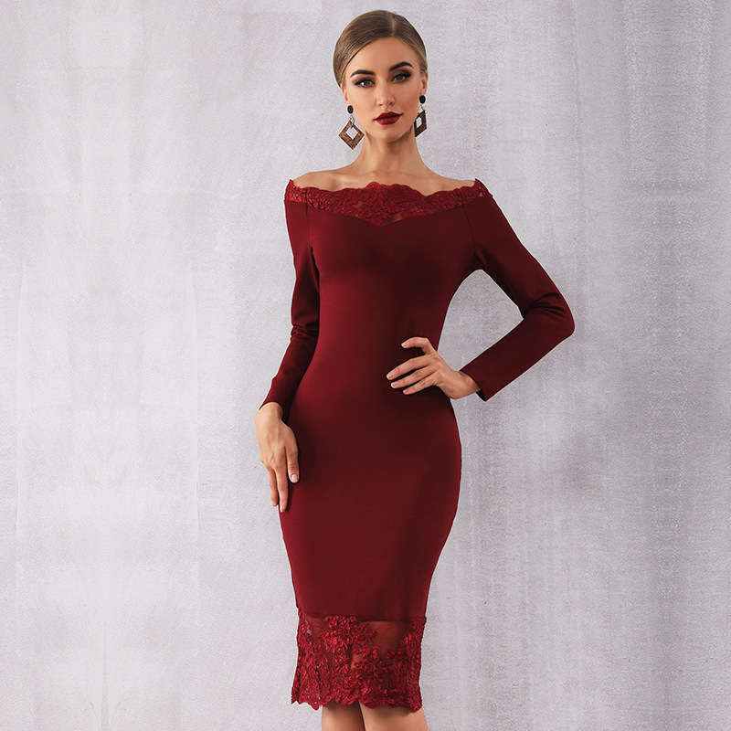 Burgundy Cocktail Dresses With Stretch Party Dress Knee Length Homecoming Gown With Lace Edge New Fashion Hot Sale Dress