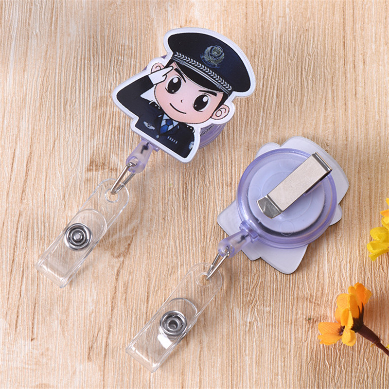 Police Officer Retractable Pull Buckle Cute Cartoon Pattern Clip Document Cover Badge Badge Brand Lanyard Sling Office Supplies
