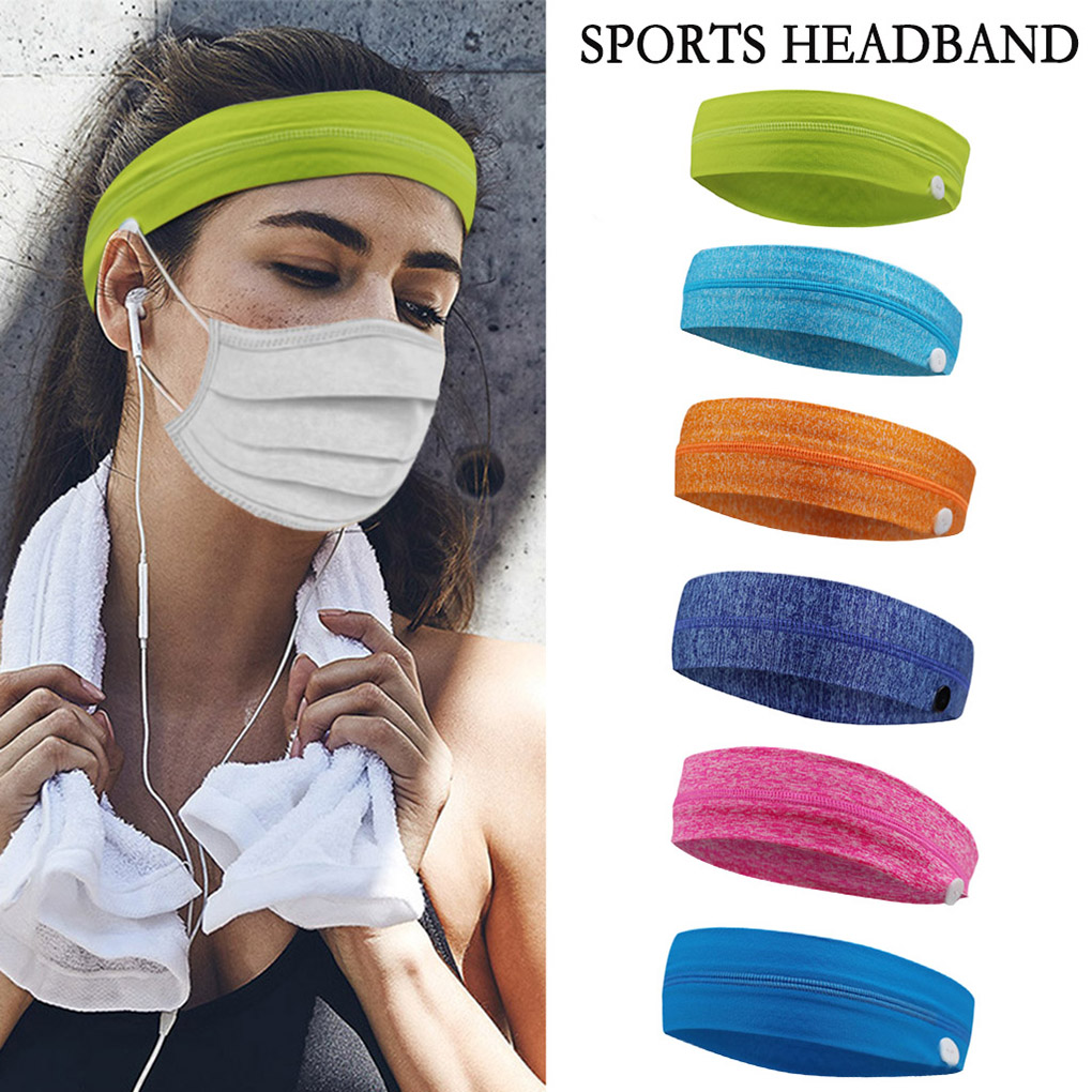 Fashion Outdoor Sports Headband With Buttons Women Men Running Jogging Knitted Elastic Hairband Head Strap