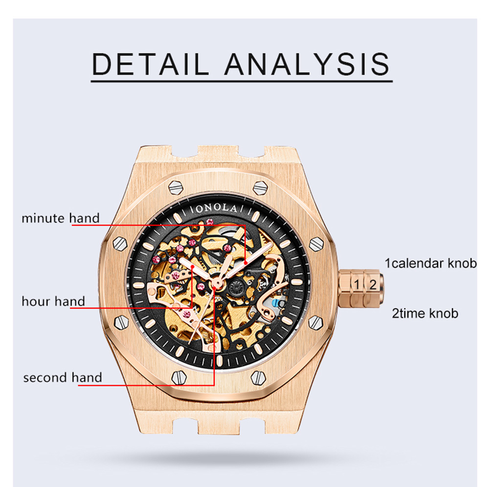 ONOLA top luxury brand Automatic mechanical men watch waterproof hollowed out dial clock fashion original Automatic watch man