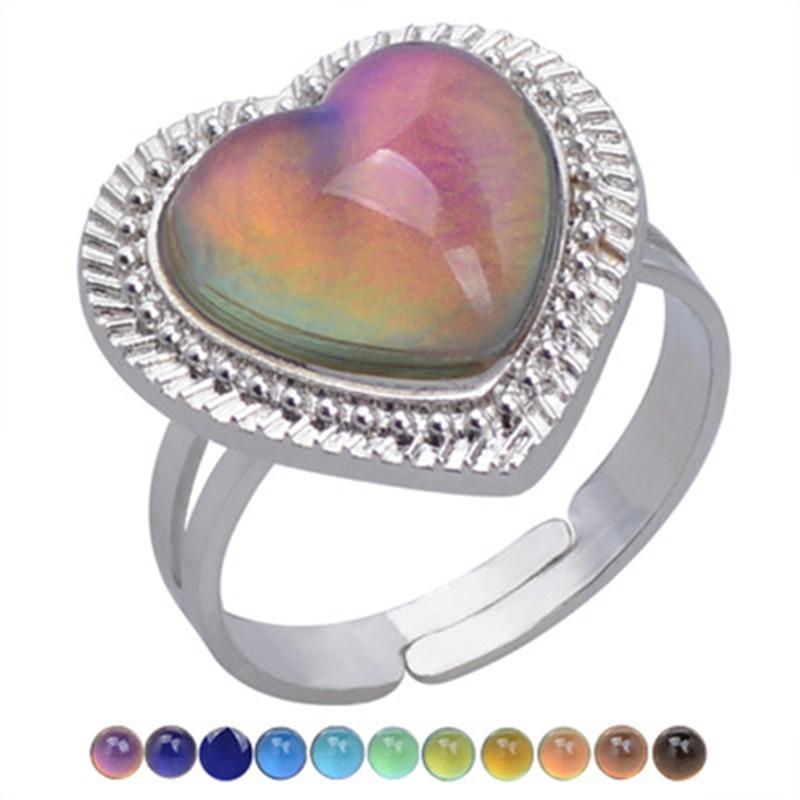 Большой в форме сердца, хорошие украшения кольцо-Определитель настроения Цвет изменение Регулируемый чувства эмоции Сменные Температура л...