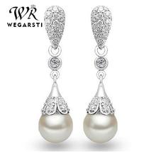 WEGARASTI Silver 925 Jewelry Pearl Earrings Jewelry Natural Freshwater Pearl Drop Earrings women Silver Wedding Dangle Earring
