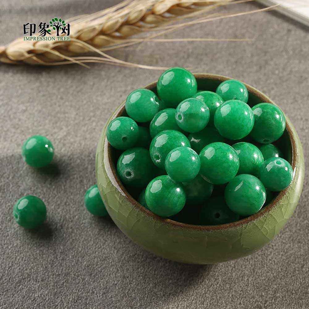 1Pc マルチグリーン色 Jad e ビーズルースストーンビーズピックサイズ 6 8 10 12 ミリメートルフィット diy のジュエリーメイキングのためのネックレス 1880