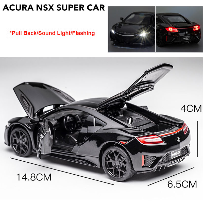 1:32 Scale High Simulation Acura NSX Diecast Model Car Pull Back Toy Vehicles For Kids Children Birthday Gifts Collection