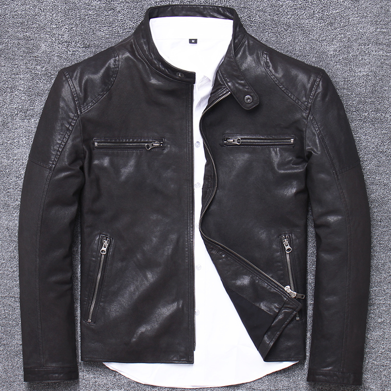 2020 New Genuine Leather Jacket Men Vintage Sheepskin Leather Coat Casual Motorcycle Jacket Slim Fit Veste Cuir Homme L1255