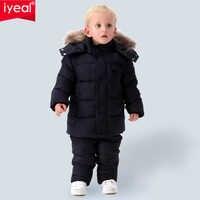 IYEAL russie hiver chaud enfants ensembles de vêtements pour garçons fourrure naturelle en coton neige porter coupe-vent Ski costume enfants bébé vêtements