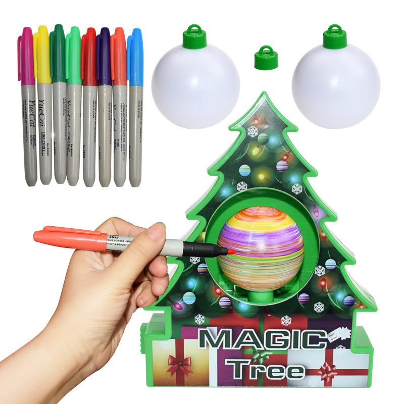 Kuulee Children Manual Chrismas Tree Plastics DIY Chrismas Ornament Machine Chrismas Tree Set Electric Painting Ball