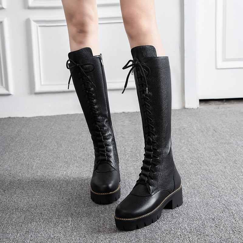 ASUMER 2020 yeni inek hakiki deri çizmeler kadın kare yüksek topuklu lace up kış çizmeler bayanlar şövalye diz yüksek kar çizmeler