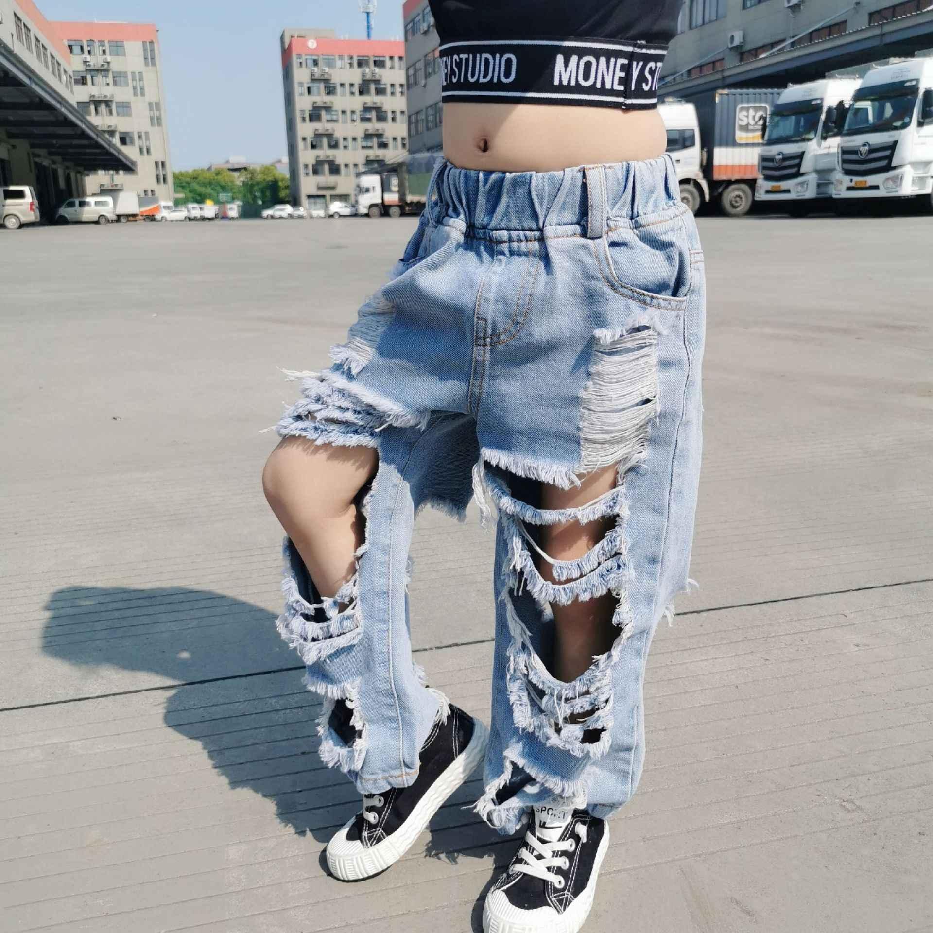 Pantalones Vaqueros Rasgados Para Ninos Y Ninas Pantalones Vaqueros Desgastados Con Agujeros De Cintura Alta De 3 A 12 Anos Para Verano 2020 Pantalones Vaqueros Aliexpress