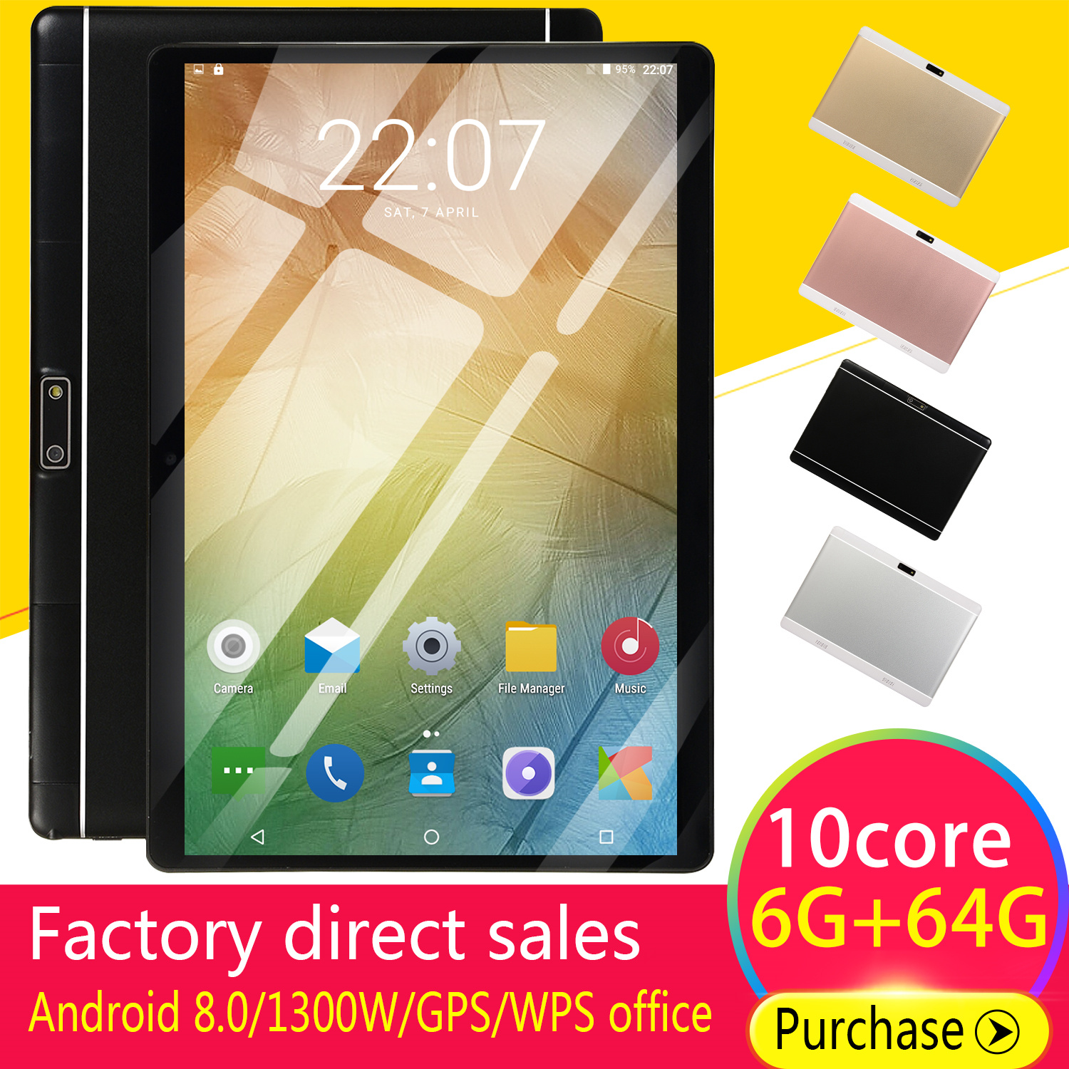 2019 WiFi Tablet PC 10 Inch Ten Core 4G Network Android 8.1 Arge 2560*1600 IPS Screen Dual SIM Dual Camera Rear 13.0 MP IPS