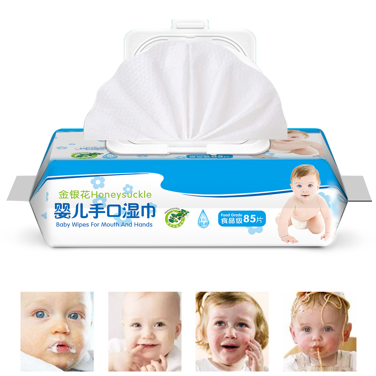 85 Wipes/Pack Wipes Alcohol Free Wet Wipes Antibacterial Irritant-free Health Care Hand Mouth Wipes With Lid