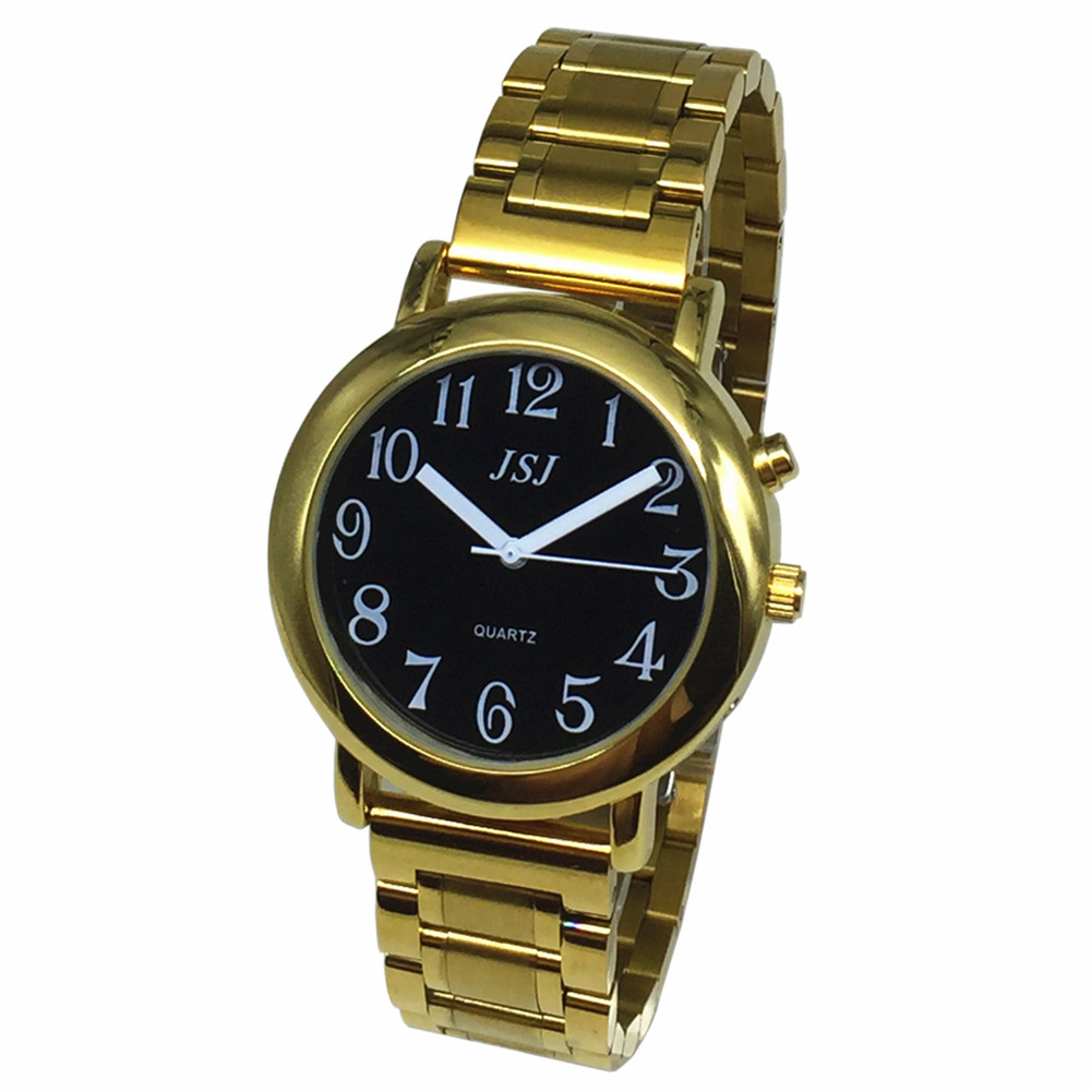 French Talking Watch With Alarm Function, Talking Date And Time, Black Dial, Folding Clasp, Golden Case TAF-608
