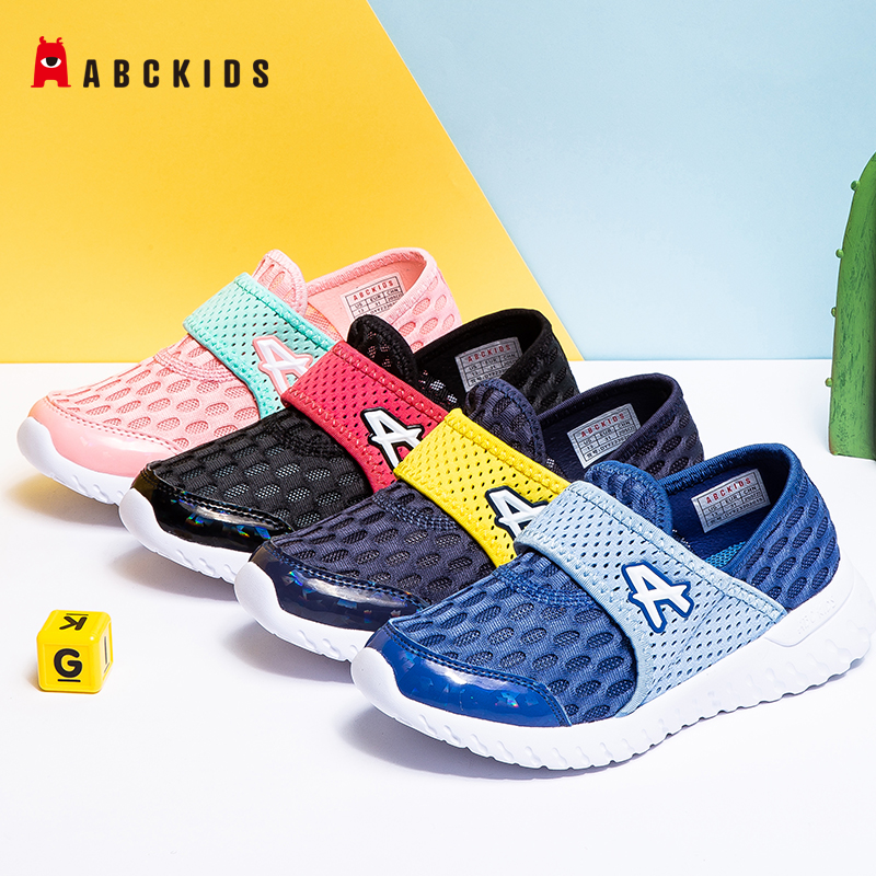 ABCkids Summer New Mesh Breathable Children Shoes Boys Girls Casual Shoes Fahsion Slip On Fabric Soft Bottom Sport Shoes