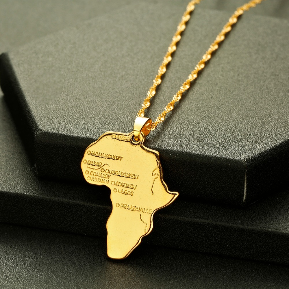 CHENHXUN CHENGXUN Africa Map Pendant Necklace Gift Gold Color Long Chain Wholesale African Map Men Women Trendy Jewelry Gift