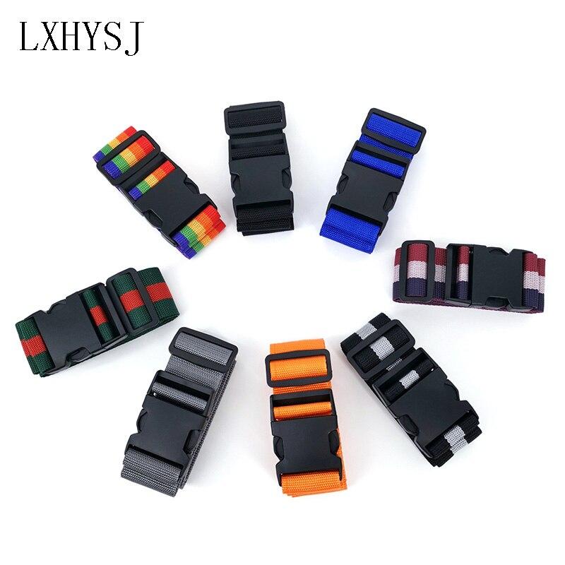 Adjustable Luggage Belt Luggage Suitcase Straps Baggage Rainbow Belt Travel Rope Nylon Luggage Packing Tape Travel Accessories