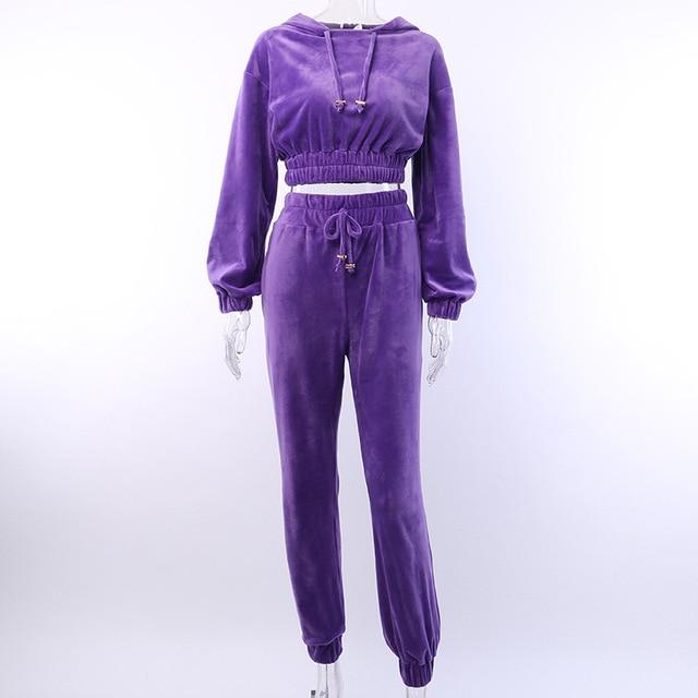Artsu Flannel 2 Two Piece Set Sport Suit Pink Fleece Crop Top Hoodies Sweat Pants Women Matching Sets Clothing Outfit Sportswear 5