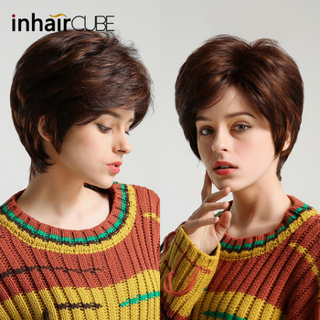 Inhair Cube 10 Fluffy Multi-layered Short Natural Wavy Synthetic Wigs for Women Light Brown Wig Side Parting for Women цена 2017