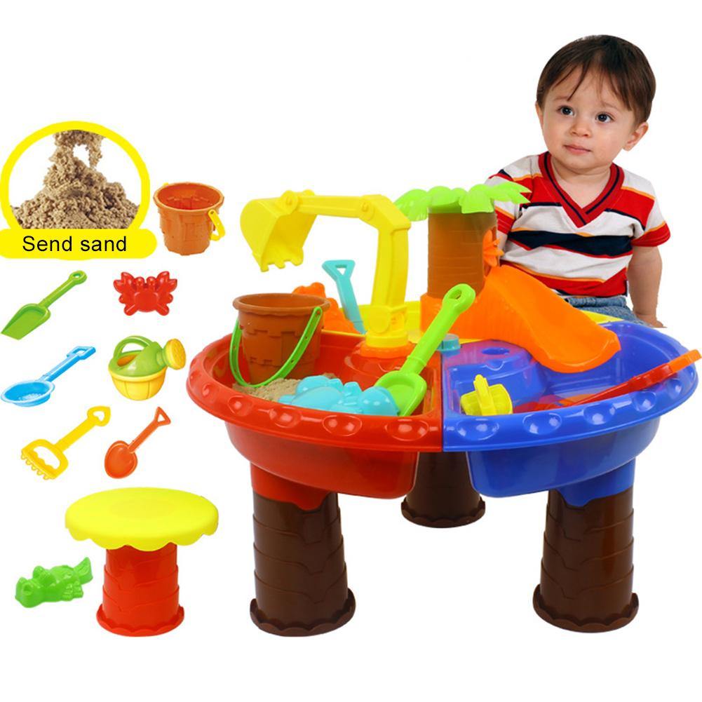 Kids Outdoor Summer Beach Sand Digging Tool Water Playing Plastic Table Toy Kit Seaside Tools Gifts Colorful Scene Accessories