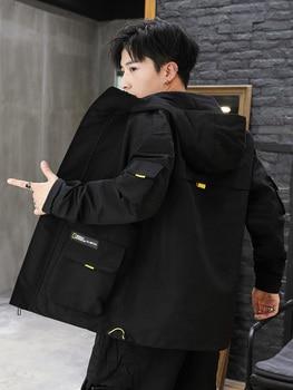 Men's Coat Spring Plus Velvet Young Boys Jacket Men's Wear Yellow Coats Outdoor Fashion Street Clothes Big Bestselling GG50jk