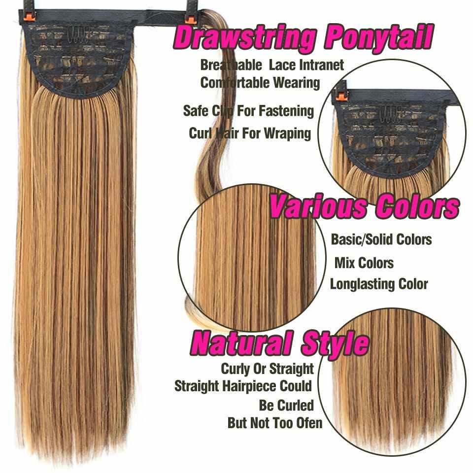 Afro peluquín falso 18 32 ''largo cordón Cola de Caballo sintético extensión de cabello Clip en pelo rizado cola de Pony extensiones de moño