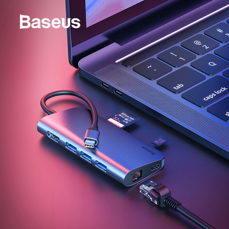 Baseus USB C ประเภท C ถึง USB 3.0 HDMI USB HUB สำหรับ MacBook Pro พื้นผิว Pro 6 Card Reader RJ45 ethernet USB Splitter C ประเภท C-ใน ฮับ USB จาก คอมพิวเตอร์และออฟฟิศ บน AliExpress - 11.11_สิบเอ็ด สิบเอ็ดวันคนโสด 1