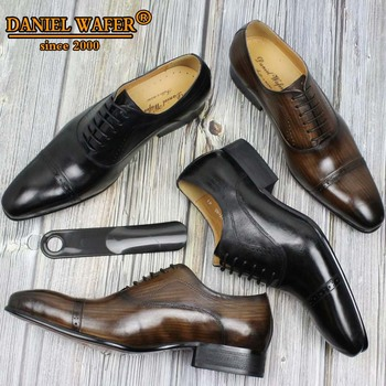 GENUINE LEATHER OXFORD DRESS SHOES MEN LACE UP CAP TOE OFFICE WEDDING SHOES BLACK BROWN BROGUE POINTED OXFORDS FORMAL SHOES MEN luxury italian oxfords genuine leather shoes brogue fashion wing tip black brown lace up wedding office dress men formal shoes