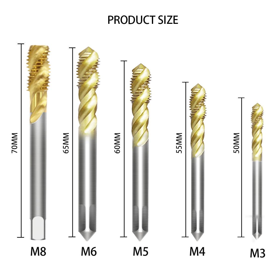 M3 M4 M5 M6 M8 5pcs HSS Spiral Flute Tap Drill Bit Machine Tapping Tool for Wood Metal Metric Thread Tap Set Plastic