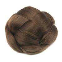 Soowee Knitted Braided Clip In Hair Chignon Synthetic Hair Donut Hair Bun Clips for Women Cola De Caballo Postizo