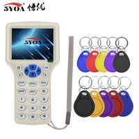 Lector de tarjetas RFID con lector de tarjetas, fotocopiadora RFID para lectores duplicadores, 125KHz, 13,56 MHz, PROGRAMADOR USB, NFC, inteligente, 10 frecuencias, lector de tarjetas fob, decodificador UID