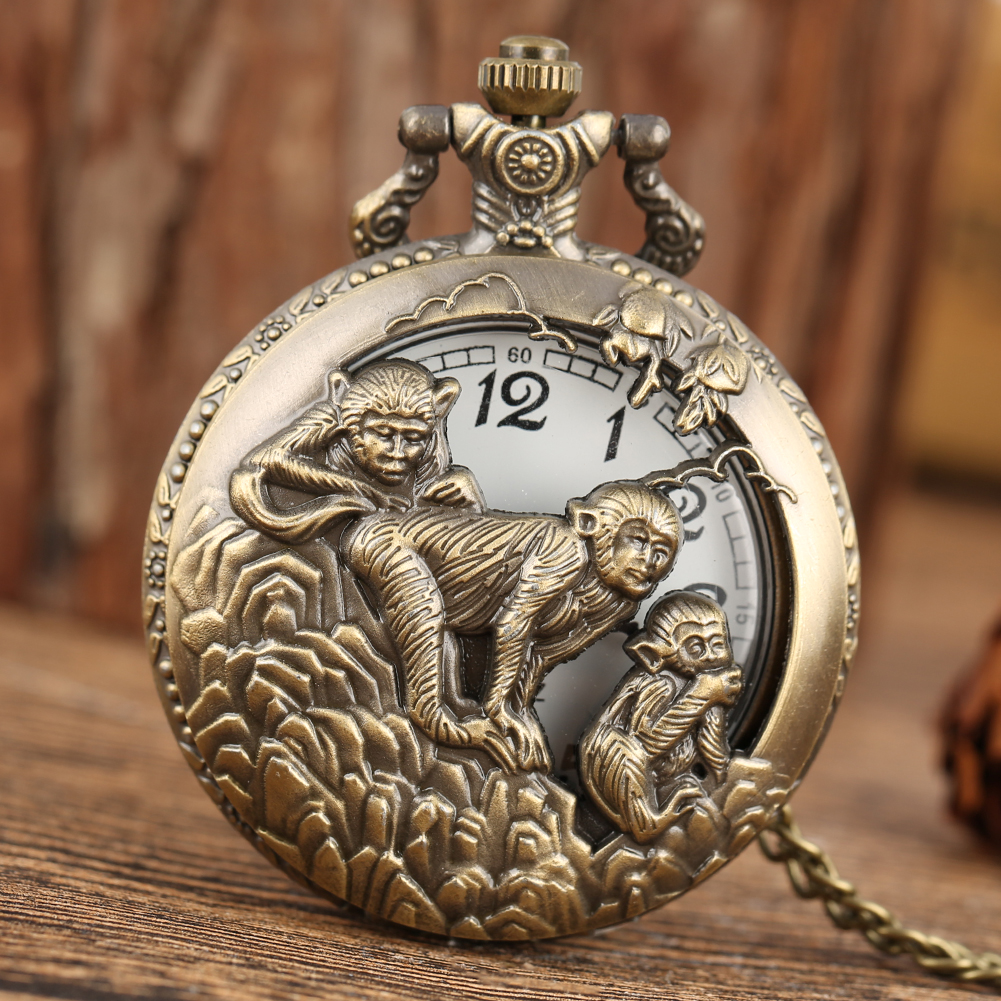 Yeni klasik cep saati çin zodyak maymun kolye saatler kolye yarım Hunter saat Steampunk Unisex hediyeler cep saati