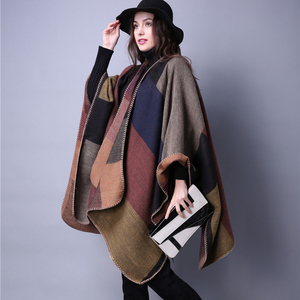 Image 2 - brand 2020 women winter scarf warmer shawl ladies Vintage plaid Blanket knit wrap Cashmere poncho capes female echarpe pashmina
