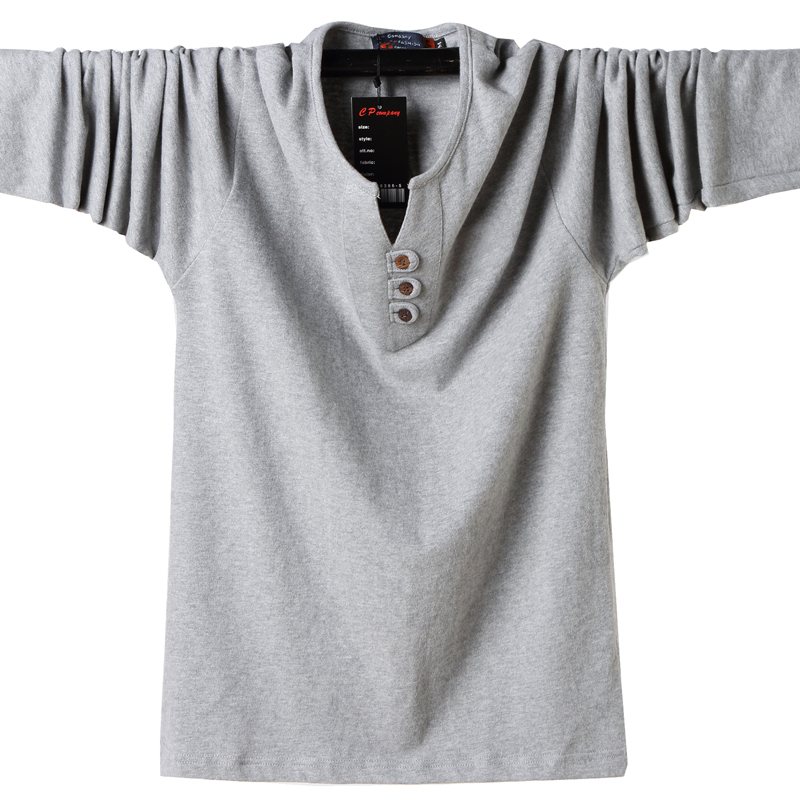 2019 Men T Shirt Button Big Tall Cotton Long Sleeve T Shirts Men Big Size Casual T Shirt Solid Plus 5xl 6xl Fit Tee Top Male in T Shirts from Men 39 s Clothing