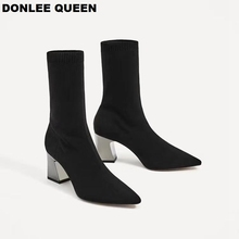 Fashion Ankle Elastic Sock Boots Chunky High Heels Stretch Women Autumn Sexy Booties Pointed Toe Women Pumps Shoes zapatos mujer джинсы женские oodji цвет синий джинс 12106150 47546 7500w размер 30 32 50 32